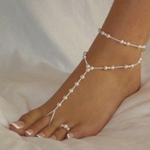 2pc Pearl Foot And Ankle Bracelet Chain Barefoot Sandals Toe Rings