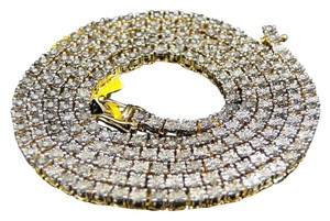 Other Yellow Gold Finish Genuine Diamond 1 Row Necklace Chain 1.75 ct