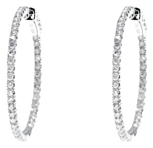 Other 14k White Gold Endless In/Out Round Diamond Hoops Huggie Earrings 1 ct