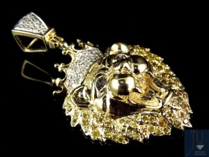 10k Yellow Gold Genuine Diamond Polished King Lion Head Pendant 0.50ct