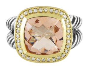 David Yurman Albion Ring with Morganite, Diamonds, and Gold