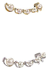 Ear cuff pin wrap earrings Silver Pearl CZ rhinestones Ear Cuff wrap Pin earrings 2017 trend