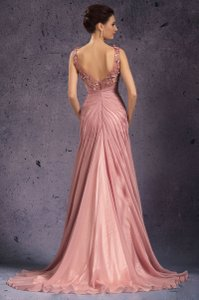 Mauve/pink Backless Long Train Mauve/pink Formal Gown Dress