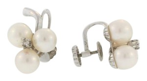 Other Antique Stacked Pearl And Diamond Earrings- 14k White Gold