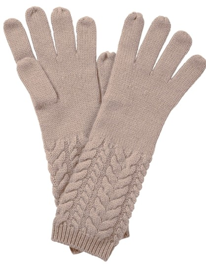 Pure Collection Cashmere Lofty Cable Gloves Frosted Almond One Size