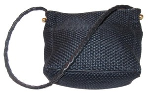 Bottega Veneta Gold Hardware Satchel in black woven fabric and black braided leather strap/trim