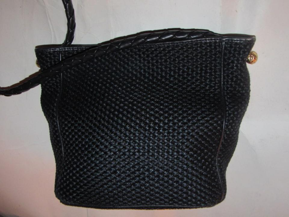 Bottega Veneta Vintage Purses Designer Purses Black Woven Fabric and ... d2933fc905
