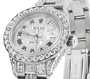 Rolex Ladies Rolex Datejust Oyster 27mm Full Iced Out Diamond Watch 9.75 Ct