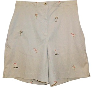 Coral Bay Golf Golfers Womens Petite 8 Embroidered Bermuda Shorts Khaki