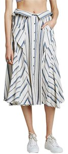 Free People Linen Skirt Country Blue Combo
