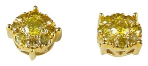 Other 10k Mens Ladies Yellow GoldCanary Diamond Stud Earrings 1.09 Ct