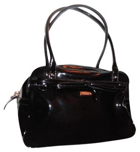 Kate Spade Chrome Hardware Satchel in black patent leather