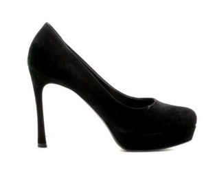 Saint Laurent Ysl Suede Platform Black Platforms