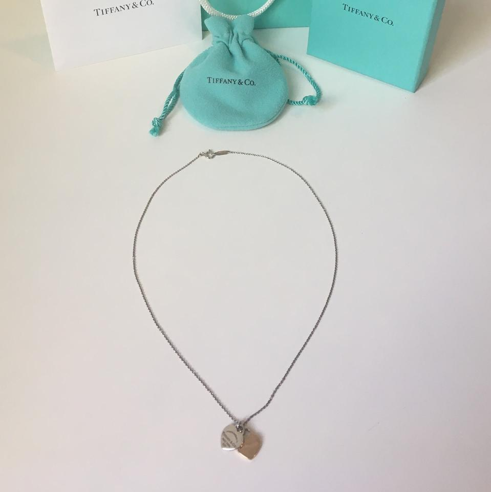 d0d2e466716a2 Tiffany & Co. Silver Rose Gold Return To Mini Double Heart Tag Pendant  Necklace 59% off retail