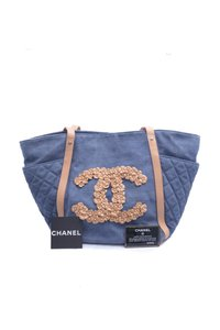 Chanel Denim Applique Leather Tote in Blue