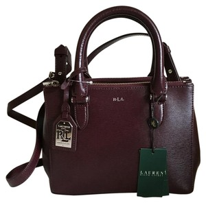 Ralph Lauren Mini Double Zip Top Handle Leather Crossbody Satchel in Maroon