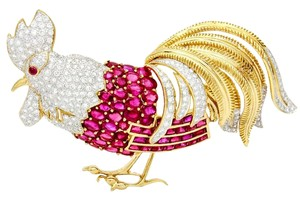 Other Ruby Diamond Large Rooster Brooch in 18k Yellow Gold