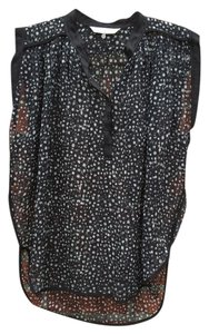 Rebecca Taylor Polka Dot Sheer Relaxed Fit Cap Sleeves Button Down Top Black