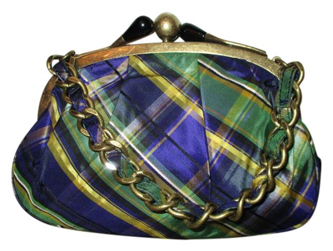 Item - Green Purple Multi Plaid Silk Baguette