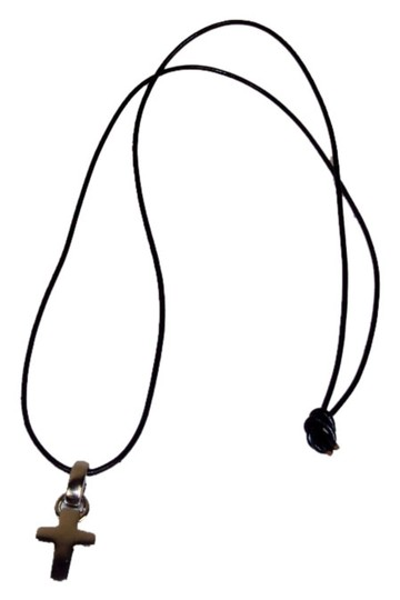 Guess Guess Necklace - Metal Cross On Thin Leather Cord - Tied (No Clasp)