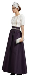 Anthropologie Silk Taffeta High Waisted Formal Maxi Skirt Purple