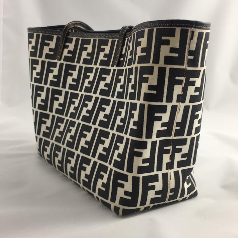 Fendi Roll Zucca Shopping Large Black Coated Canvas and Leather Tote ... ce85b92635118