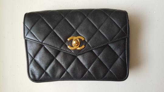 Chanel Vintage Leather Black Travel Bag