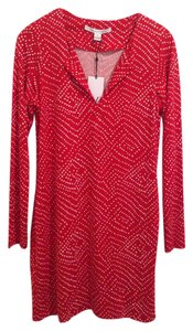 Diane von Furstenberg short dress Red Cream on Tradesy