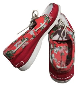 G.H. Bass & Co. Deck Nautical Boat Floral red, orange, and white Flats