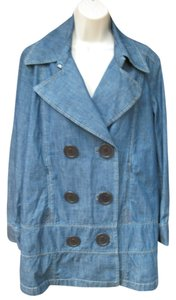 Façonnable Double-breasted Peacoat Nautical Spring Denim Womens Jean Jacket
