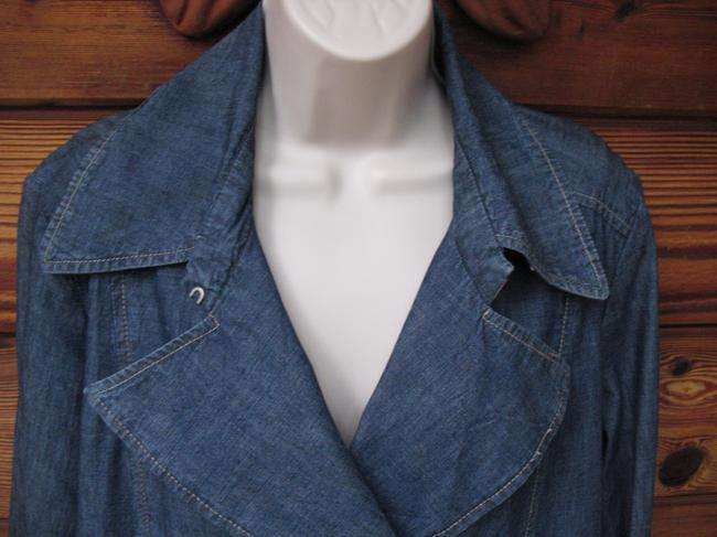 Faonnable Double-breasted Peacoat Nautical Spring Denim Womens Jean Jacket