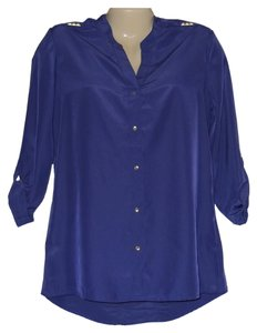 Antilia Femme Button Front Long Sleeve Blouse Pyramid Stud Button Down Shirt Purple