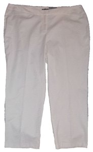 Roz & Ali Stretch Flat Front Zebra Plus Size Skinny Pants White