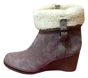 Carlo Pazolini Ankle Shearling Suede Ankle Wedge Heels Lt. Grey Boots