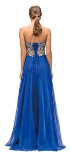 Royal Blue Strapless Lace Embroidered Bodice Long Formal Dress