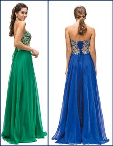 Green Strapless Lace Embroidered Bodice Long Formal Dress
