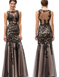 Black Strapless Lace Embroidered Bodice Long Formal Dress