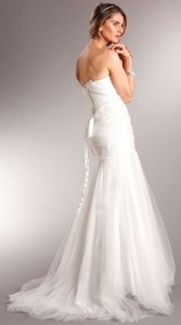 White Strapless Long Formal Gown In Mesh Tulle Dress
