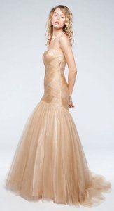Mocha Strapless Long Formal Gown In Mesh Tulle Dress