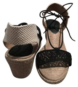 Lucky Brand Espadrille Tie Bow Black and tan Wedges