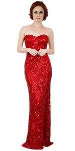 Red 100% Silk Strapless Sweetheart Sequins Long Dress