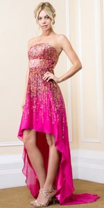 Fuchsia Strapless Sequined High-low Dress