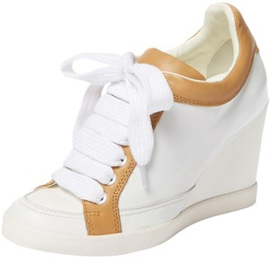 See by Chloé Leather Wedge white and tan Wedges