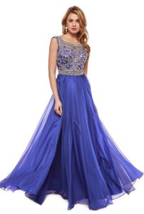 Royal Blue Sleeveless Boat Neck Rhinestones Long Dress