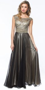 Black Sleeveless Boat Neck Rhinestones Long Dress