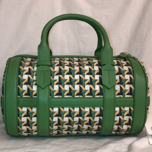 Tory Burch New/nwt Leather Cotton Canvas Satchel in Green White Yellow
