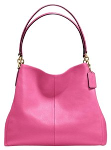 Coach Pebbled Leather Leather Tote in Pink