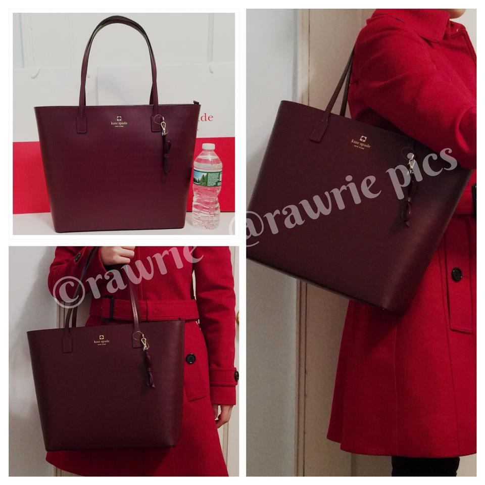 a3ee31d468 Kate Spade Sawyer Street Tori Smooth Zip Top Burgundy Leather Tote ...