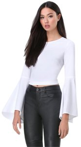 bebe Crop Bell Sleeve Trumpet White Top NWT White