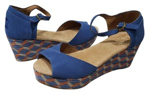 TOMS Suede Blue Wedges